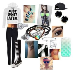 """""""Going out with Jack"""" by cmsvball19 on Polyvore featuring WearAll, Giorgio Armani, Converse, B. Brilliant, Jewel Exclusive, Bling Jewelry, BERRICLE, Panacea, Casetify and Ray-Ban"""