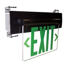 NoraLighting - Recessed Adjustable LED Edge-Lit Exit Sign, Battery Backup