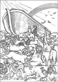 Noah Builds An Ark Building Noahs Bible Coloring Sheets