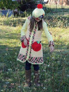 Detské oblečenie - Svetrokabátik a baretka-ježko a jabĺčka - 3007780