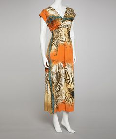Take a look at this Orange Shirred Sleeveless Maxi Dress by Life and Style Fashions on #zulily today!