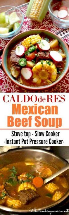 tomorrow...tomorrow...i luv ya tomorrow..... Caldo De Rez Recipe, Caldo De Res Crock Pot Recipe, Slow Cooker Recipes Mexican, Mexican Soup Recipes, Mexican Dishes, Mexican Beef Soup, Mexican Shrimp, Beef Soup Recipes, Vegetarian Mexican
