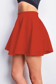 Classic skater skirt with a stretchy elastic waistband. Light scuba-like fabric with subtle sheen. Great basic that can be mixed and matched with any top. *Hand Wash Cold *90% Polyester 10% Spandex *1