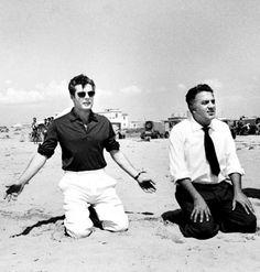 Marcello Mastroianni and Federico Fellini during filming of La Dolce Vita, 1960