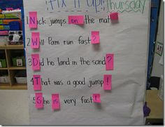 Correcting sentences. Cool! They can flip up the post-it note and see what the mistake was. This could be a fun and easy-to-make center.