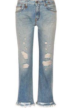 13187afed49 R13 - Classic Distressed Mid-rise Straight-leg Jeans - Mid denim Frayed Hem