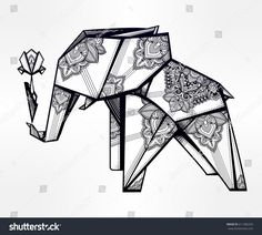 Geometric origami elephant holding a flower stylized triangle polygonal model with beautiful paisley. Tattoo, spirituality, boho design. Use for print, posters, t-shirts textiles. Isolated vector art.
