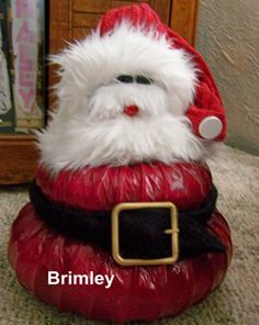 These cute snow people or Santas are an inexpensive quick and easy decoration that would make a good holiday gift. Remember the pumpkins made from dryer vent idea from years ago and made snowmen and Santas.