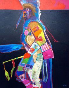 John Nieto Traditional Dancer, 1990 Acrylic on Canvas 60 x 48 inches American Indian Art, Native American Art, Native Art, Sioux, Contemporary Artists, Amazing Art, Nativity, Glass Art, Dancer