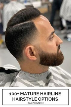This hairstyle for men with mature hairline is all about the cool alternating pattern of super short parts and a cool gradual increase in length towards the top. This makes the combover look flawless! #menmaturehairline #baldingmenhairstyles #menshorthair #combover #menhairstyle #manhaircuts Skin Fade Hairstyle, Pompadour Hairstyle, High Skin Fade, Mullet Haircut, Bald Patches, Tapered Hair, Hair Pomade, Bald Men, Top Hairstyles