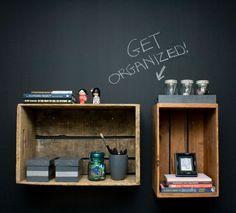 Repurpose crates as shelves #diy #upcycle #vintage