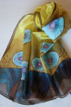 Handpainted silk scarf yellow light and dark blue by SilkHome