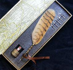 Wedding Favors Antique Owl FeathersDip Pen Ink Set