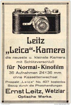 Original-Werbung/ Anzeige 1928 - LEICA KAMERA / LEITZ - WETZLAR - ca. 65 x 100 mm Antique Cameras, Old Cameras, Vintage Cameras, Vintage Ads, Vintage Photos, Leica Photography, Poster Photography, Vintage Photography, Portrait Photography