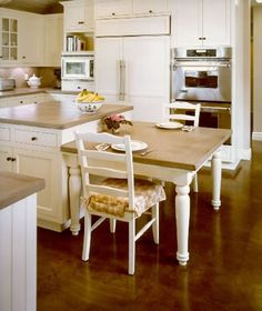 concrete countertops. Also love dual height of island...