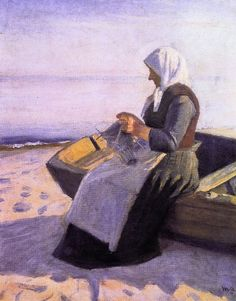 Fishermans Wife Knitting on Skagen Beach Painting by Michael Peter Ancher | Oil Painting