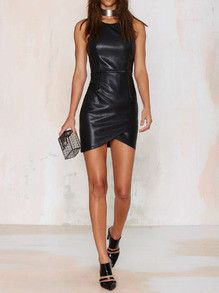 Black Leather Dress Sexy Tight Bodycon Date Night Dress