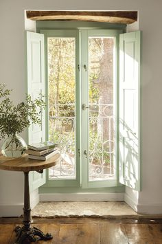 Interior french doors add a beautiful style and elegance to any room in your home. Style At Home, French Doors Bedroom, French Door Shutters, Sweet Home, Cottage Interiors, Home And Deco, French Country Decorating, French Cottage Decor, Door Design