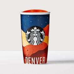 Denver Double Wall Traveler. A double-walled ceramic mug decked in Colorado colors and inspired by the flag of Denver.