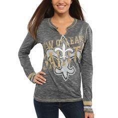 efb23d184 Women's New Orleans Saints Majestic Black Gametime Gal V-Neck Long Sleeve T- Shirt