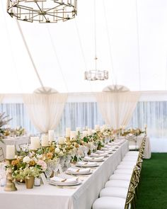 One Couple's Modern Wedding Weekend in Montana | Martha Stewart Weddings - The outdoor reception took place in a tent, where rectangular tables were outfitted in ivory velvet (incorporating the velvet from the invitations) and arranged below a mix of modern light fixtures. #elegantwedding #weddingideas #weddingdecor #wedding