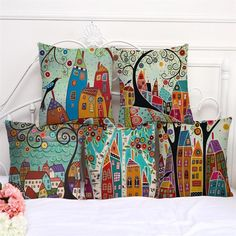 Artistic Design Linen Pillow Cover-Vintage European Building Style