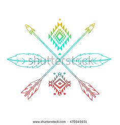 Hand drawn boho pattern with arrows, feathers, geometric symbols . decorative elements, glitter tattoo, logo, tribal shape