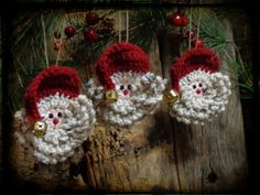 Set of 3 Ornaments, Primitive Christmas