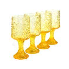 yellow lenox figurines | Lenox Yellow Amber Crystal Impromptu Goblets, SET OF 4 - Textured ...