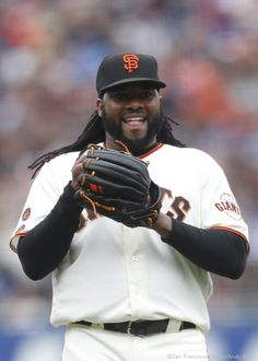 San Francisco Giants pitcher Johnny Cueto smiles during the inning. The Giants defeated the Dodgers San Francisco Giants Baseball, San Francisco 49ers, Sf Giants Players, Tim Hudson, Sf Niners, Bay Sports, Outdoor Basketball Court, Basketball Socks, Baseball Jerseys