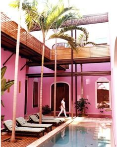 Poolside at Rosas & Xocolate. The hotel includes a spa that specializes in chocolate-based treatments.