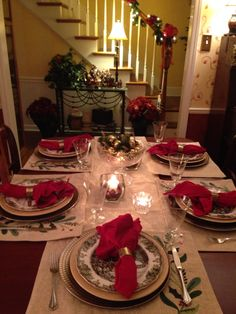 My Christmas table setting this year..my mom's Friendly Village dishes, glassware and dining table ..