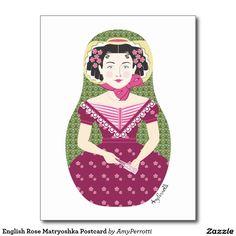English Rose Matryoshka Postcard