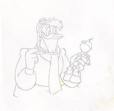 DUCKTALES Launchpad McQuack Disney original production animation cel drawing