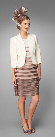 Sofia Layered Dress, Angelica Tweed Jacket and Sophie Bow Slingback Shoes by Phase Eight