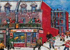 Miyuki TANOBE - La scène d'hiver à Pointe-St-Charles (Restaurant Chez Paul) Jean Paul Lemieux, Sculpture, City Streets, 21st Century, Les Oeuvres, Illustration Art, Illustrations, Street Art, Images