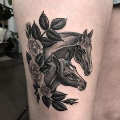 Kimberly's horsies for her first tattoo! Thanks again Kim! #horsetattoo #blacktattooing #petportraits #blackworkerssubmission #torontotattoos #thightattoo #Regram via @ashtimlin