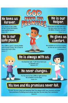 Renewing Minds, God's Promises for Kids Chart, 17 x 22 Inches, 1 Piece Sunday School Activities, Church Activities, Bible Activities, Sunday School Lessons, Bible Verses For Kids, Bible Study For Kids, Bible Lessons For Kids, Devotions For Kids, Kids Bible