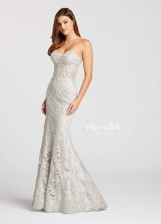 f7d8dc520ed1 Strapless Allover Metallic Lace & Tulle Trumpet Prom Dress- EW118065.  Mermaid ...