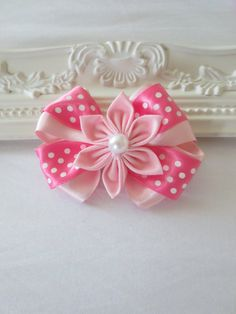 Pink Kanzashi flower and bow combo by Bubblibee on Etsy, $5.00