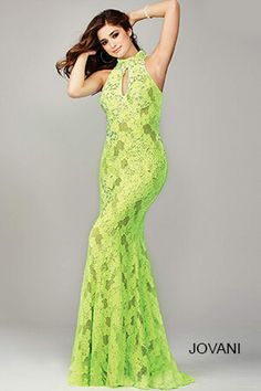 The Jovani 35268 is a high neck prom dress that showcases a front keyhole  and an elliptical cutout back. 9a6acddda