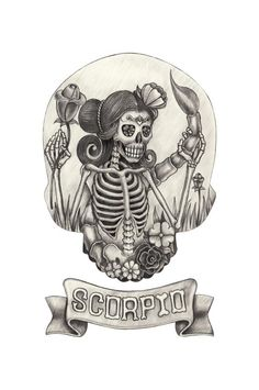 Day of the Dead style Scorpio tattoo