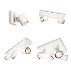 Lámpara de pared en blanco o aluminio, diseñada para decoración interior. De forma industrial, alberga un cabezal totalmente giratorio para poder dirigir el haz de luz 50w Halógenos.Compatible con regulador de pared. Referencias Runner Aplique - Philips: 530903112 - Modelo 1B, Color Blanco 530904812 - Modelo 1B, Color Aluminio 530923112 - Modelo 2B, Color Blanco 530924812 - Modelo 2B, Color Aluminio 530933112 - Modelo 3B, Color Blanco 530934812 - Modelo 3B, Color Aluminio 530943112 - Modelo…