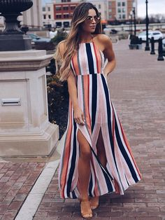 2018 Women Maxi Dress Ladies Party Evening Summer Beach Sundress Womens Long Polyester Natural O-neck Dresses Fashion Vestidos, Fashion Dresses, Dress Outfits, Casual Dresses, Summer Dresses, Cute Outfits, Look Star, All Star, Striped Maxi Dresses