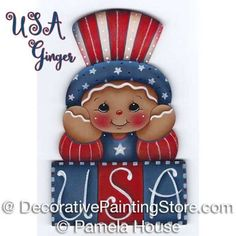 Visit the post for more. Salt Dough Christmas Ornaments, Santa Ornaments, Christmas Crafts, Christmas Snowman, Wood Craft Patterns, Tole Painting Patterns, 4th Of July Images, Fourth Of July, Gingerbread Crafts