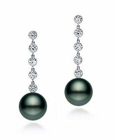 PremiumPearl 10-11mm AAA Quality Black Tahitian Pearl Earrings 18K Gold and Diamonds Premium Pearl, Inc. $890.00. The earrings are set in 18K white gold enhanced by five glittering diamonds (0.50 total carat weight). Pearl earrings are available in 8-9mm, 9-10mm, and 10-11mm. The striking elegance of these Tahitian pearl earrings makes them a wonderful gift. These pearls are extra fine AAA quality, with excellent luster, clean surface, and thick nacre