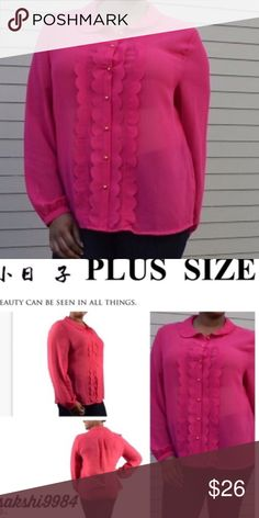 Fuschia plus size collar top Long sleeves scalloped placket blouse . 100% polyester . Please ask any Q before u buy . Runs true to size . Made in USA . Tops Blouses