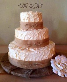 Vintage style wedding cake with burlap accents