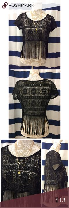 "⚜Kirra | Black Crochet Fringe Top⚜ ⚜Bust: 19"" ⚜Length: 22""   A couple fringes missing  Condition: No Rips; No Stains  100% Polyester  No TradesNo Holds Kirra Tops Crop Tops"