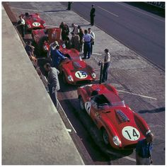 Le Mans 1960 Ferrari 250 TR squad taking a deserved nap before the battle.